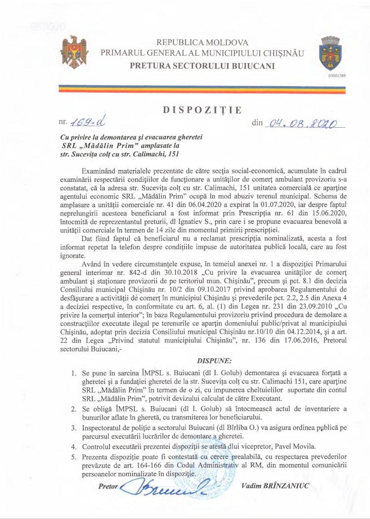 """Dispoziție nr 169-d din 04.08.2020 cu privire la demolarea și evacuarea gheretei SRL """"Mădălin Prim"""" amplasate la str. Sucevița colț cu str. Calimachi, 151"""