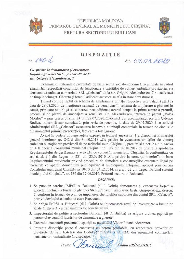 """Dispoziție nr 170-d din 04.08.2020 cu privire la demontarea și evacuarea forțată a gheretei SRL """"Cebacot"""" de la str. G. Alexandrescu, 7"""
