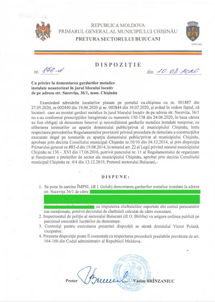 Dispoziție nr 176-d din 10.08.2020 cu privire la demontarea gardurilor metalice instalate neautorizat în jurul blocului locativ de pe adresa str. Sucevița, 36/1, mun. Chișinău
