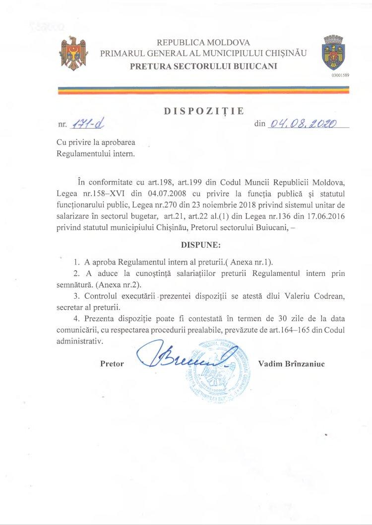 Dispoziție nr 171-d din 04.08.2020 cu privire la aprobarea Regulamentului intern