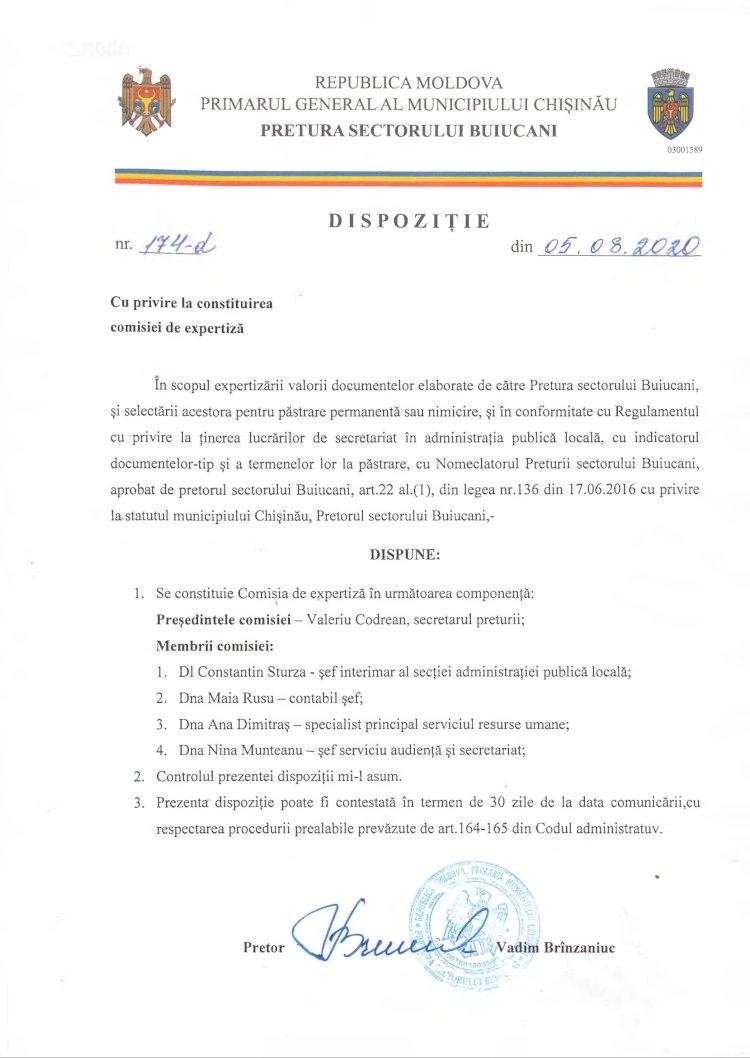 Dispoziție nr 174-d din 05.08.2020 cu privire la constituirea comisiei de expertiză