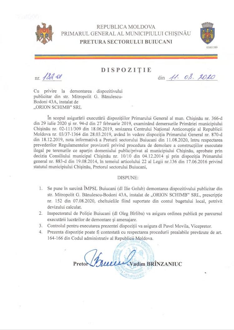 """Dispoziție nr 182-d din 11.08.2020 cu privire la demontarea dispozitivului publicitar din str. Mitropolit G. B.-Bodoni 43A, instalat de """"ORION SCHIMB"""" SRL"""