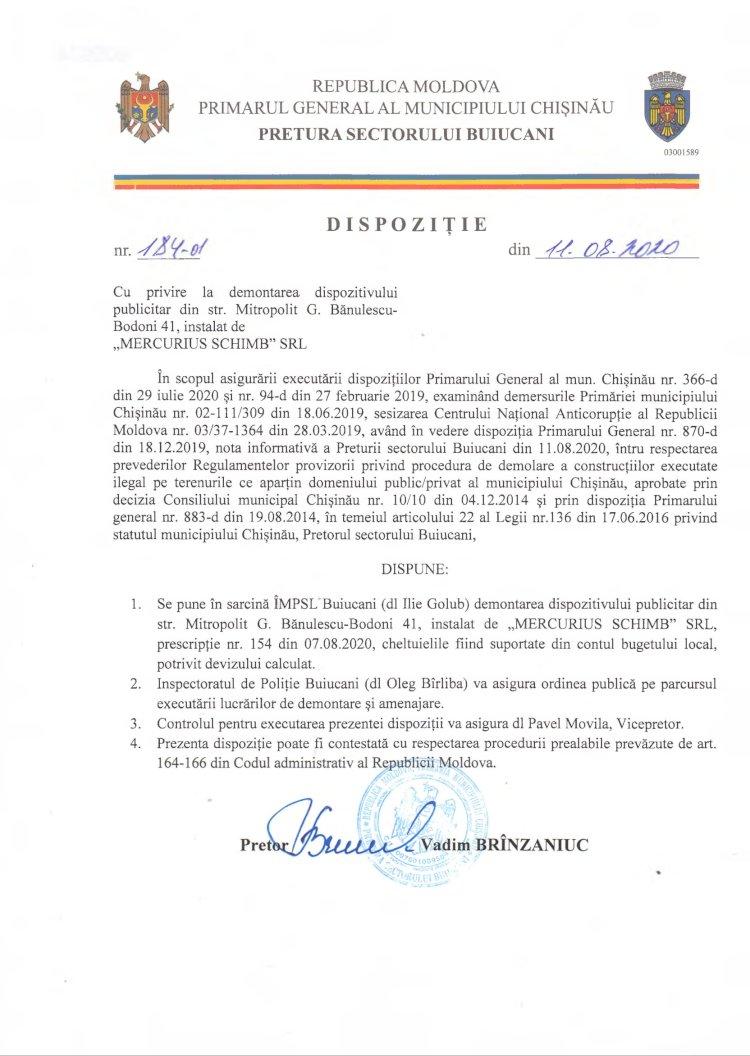"""Dispoziție nr 184-d din 11.08.2020 cu privire la demontarea dispozitivului publicitar din str. Mitropolit G. B.-Bodoni 41, instalat de """"MERCURIUS SCHIMB"""" SRL"""
