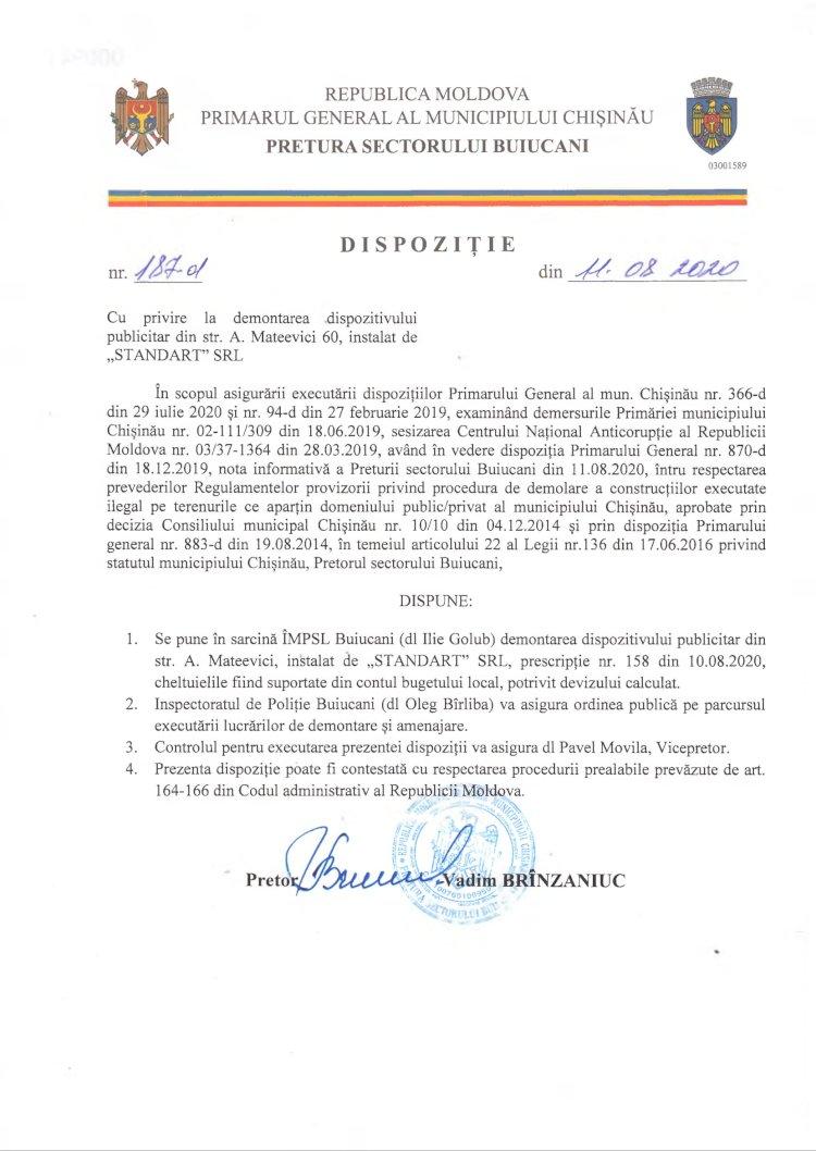 """Dispoziție nr 187-d din 11.08.2020 cu privire la demontarea dispozitivului publicitar din str. A. Mateevici 60, instalat de """"STANDART"""" SRL"""