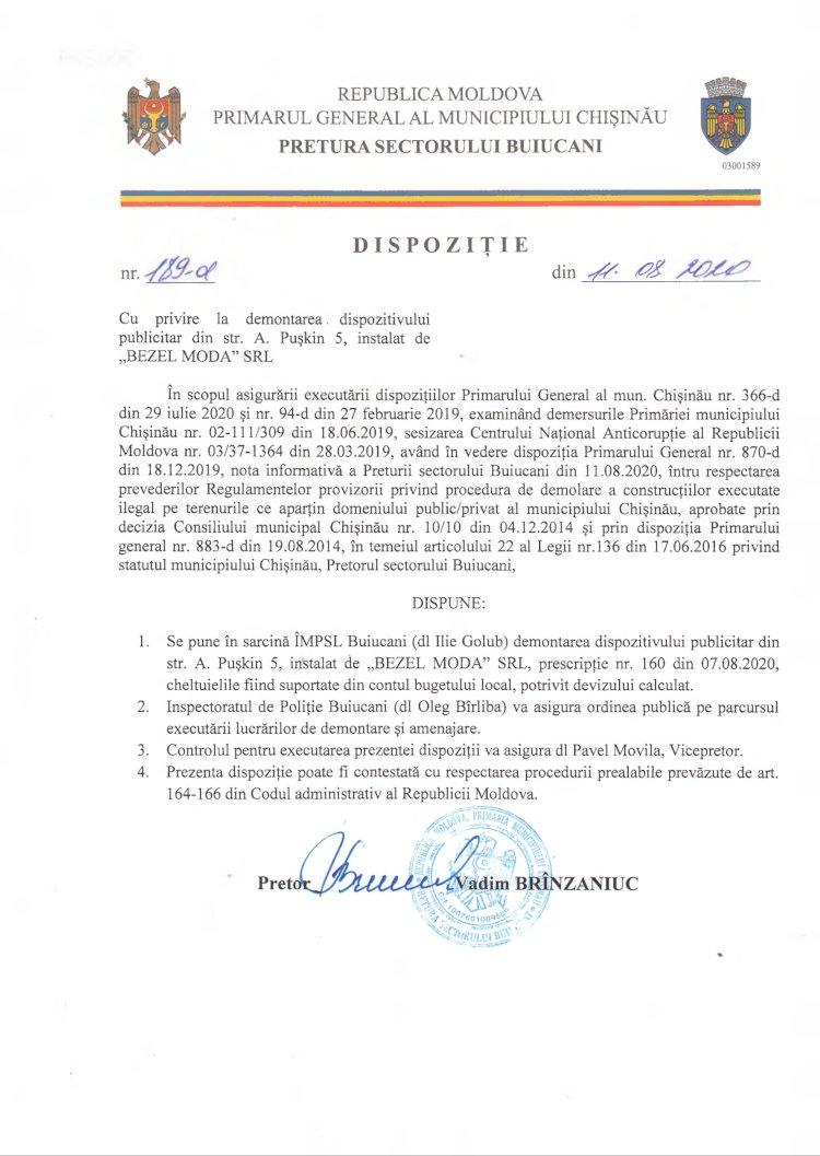 """Dispoziție nr 189-d din 11.08.2020 cu privire la demontarea dispozitivului publicitar din str. A. Pușkin 5, instalat de """"BEZEL MODA"""" SRL"""
