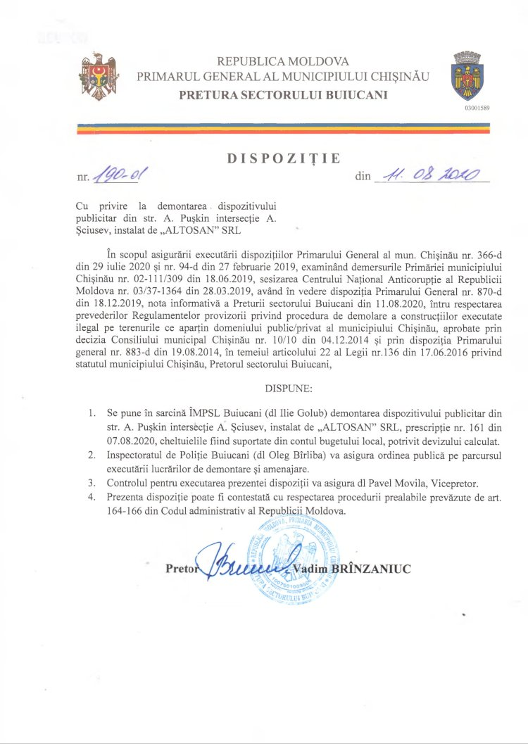 """Dispoziție nr 190-d din 11.08.2020 cu privire la demontarea dispozitivului publicitar din str. A. Pușkin 5 intersecție cu str. A. Șciusev, instalat de """"ALTOSAN"""" SRL"""