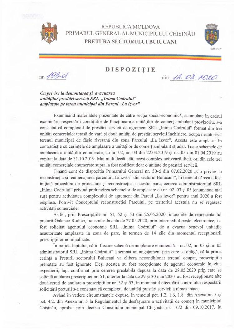 """Dispoziție nr 193-d din 12.08.2020 cu privire la demontarea și evacuarea unităților prestări servicii SRL """"Inima Codrului"""" amplasate pe teren municipal din Parcul """"La Izvor"""""""