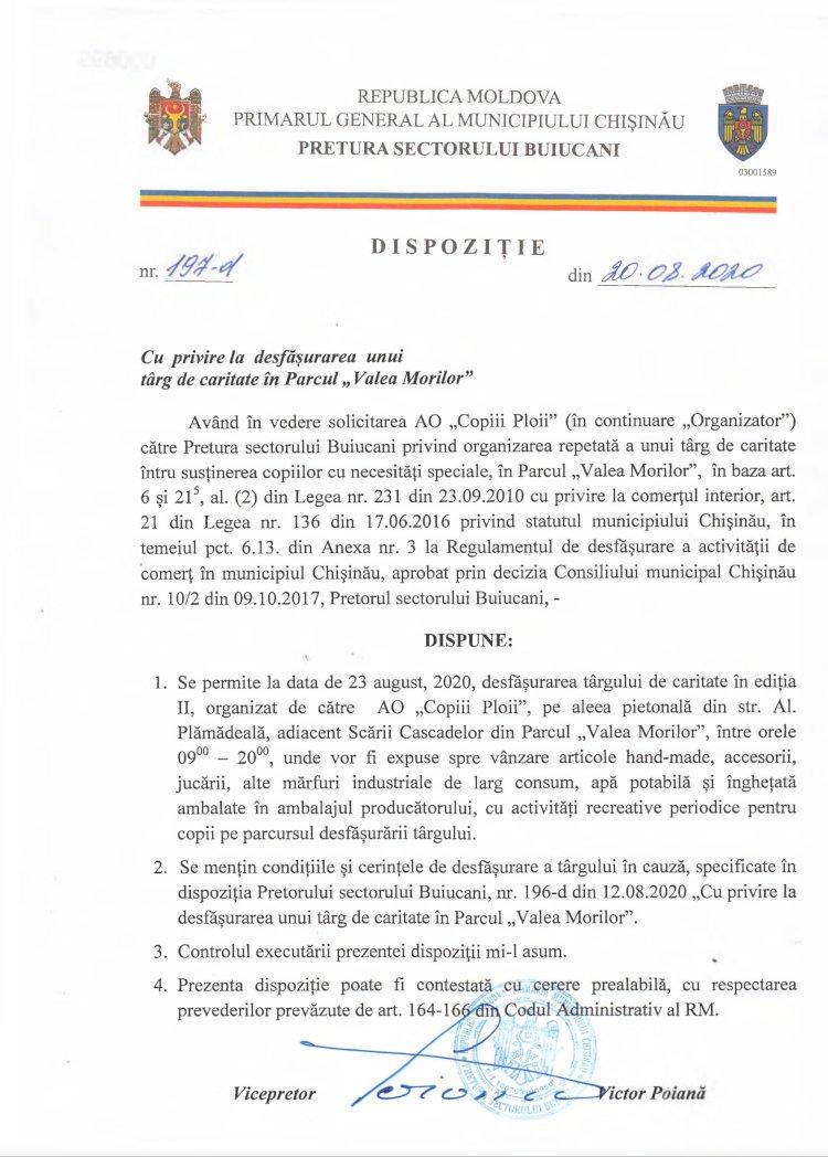 """Dispoziție nr 197-d din 20.08.2020 cu privire la desfășurarea unui târg de caritate în parcul """"Valea Morilor"""""""