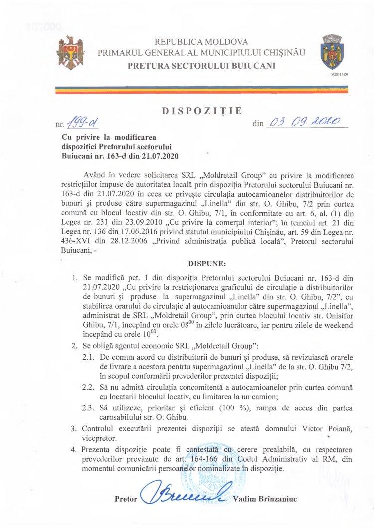Dispoziție nr 199-d din 03.09.2020 cu privire la modificarea dispoziției Pretorului sectorului Buiucani nr. 163-d din 21.07.2020