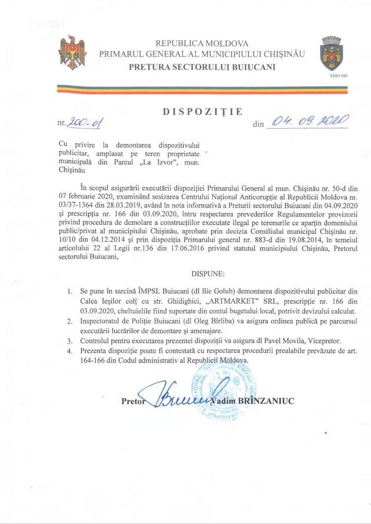 """Dispoziție nr 200-d din 04.09.2020 cu privire la demontarea dispozitivului publicitar, amplasat pe teren proprietate municipală din Parcul """"La Izvor"""", mun. Chișinău"""