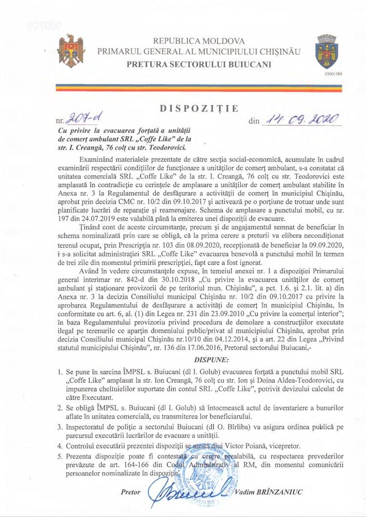 """Dispoziție nr 207-d din 14.09.2020 cu privire la evacuarea forțată a unității de comerț ambulant SRL """"Coffe Like"""" de la str. I. Creangă, 76 colț cu str. Teodorovici"""