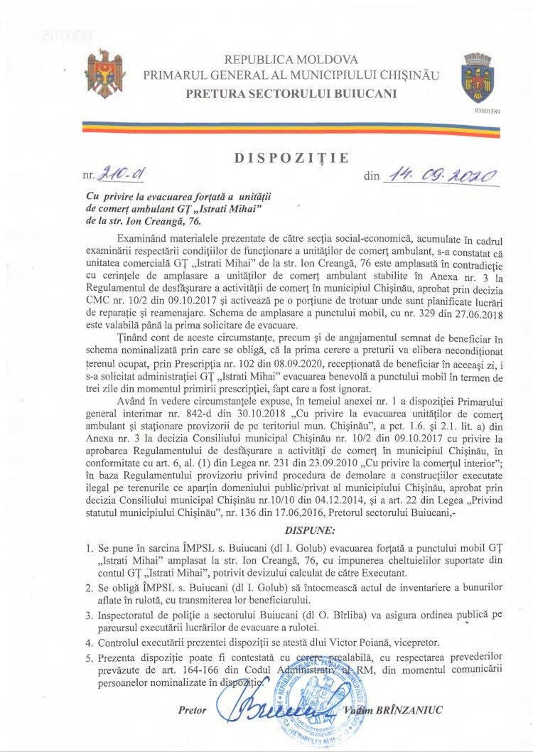 """Dispoziție nr 210-d din 14.09.2020 cu privire la evacuarea forțată a unității de comerț ambulant GȚ """"Istrati Mihai"""" de la str. Ion Creangă, 76"""