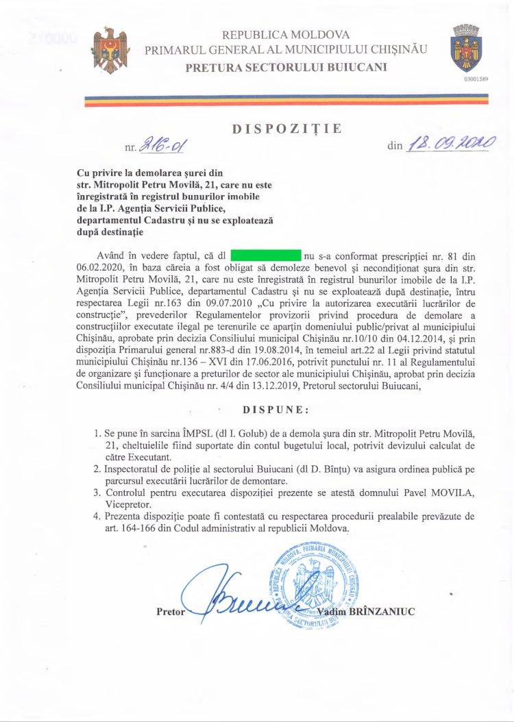 Dispoziție nr 216-d din 18.09.2020 cu privire la demolarea șurei din str. Mitropolit Petru Movilă, 21, care nu este înregistrată în registrul bunurilor imobile de la I.P. Agenția Servicii Publice, departamentul Cadastru și nu se exploatează dupa destinație