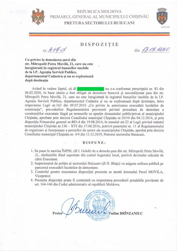 Dispoziție nr 217-d din 18.09.2020 cu privire la demolarea șurei din str. Mitropolit Petru Movilă, 21, care nu este înregistrată în registrul bunurilor imobile de la I.P. Agenția Servicii Publice, departamentul Cadastru și nu se exploatează dupa destinație