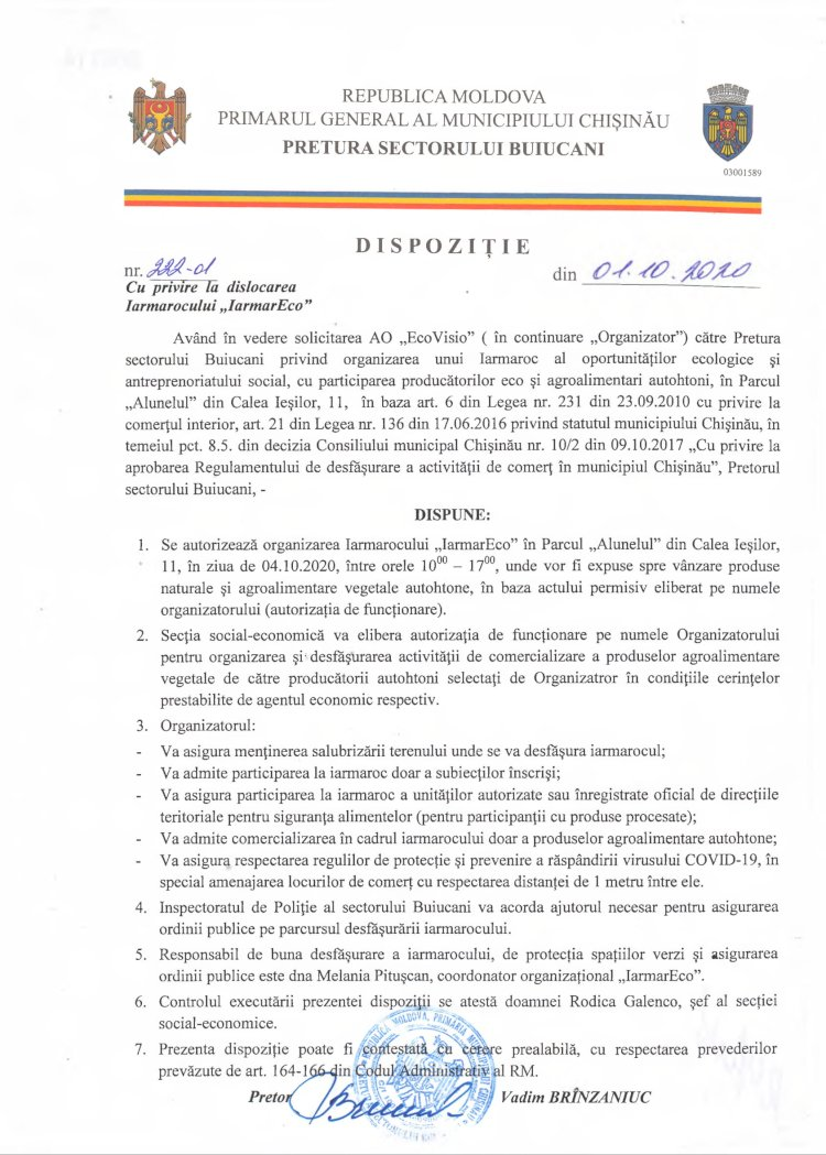 """Dispoziție nr 222-d din 01.10.2020 cu privire la dislocarea Iarmarocului """"IarmarEco"""""""