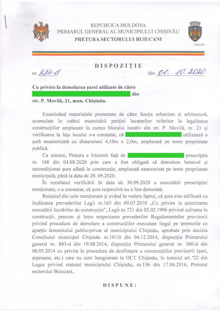 Dispoziție nr 224-d din 01.10.2020 cu privire la demolarea șurei din str. P. Movila, 21, mun. Chișinău