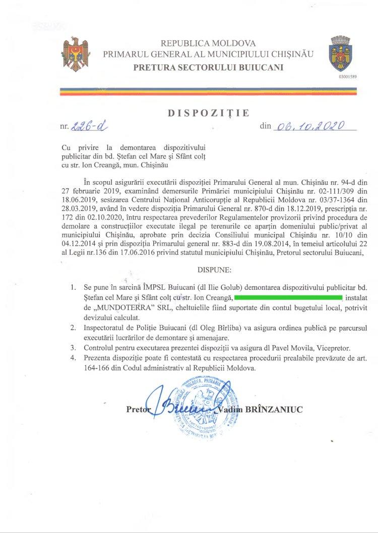 Dispoziție nr 226-d din 05.10.2020 cu privire la demontarea dispozitivului publicitar din bd. Ștefan cel Mare și Sfânt colț cu str. I. Creangă