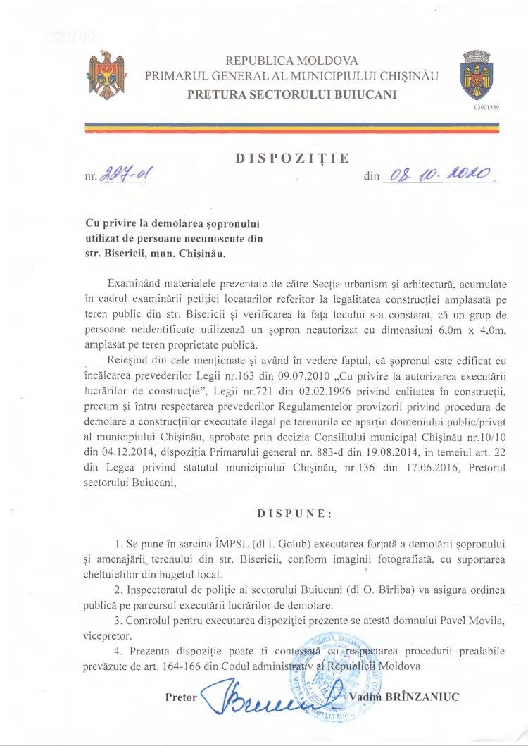 Dispoziție nr 227-d din 05.10.2020 cu privire la demolarea șopronului utilizat de persoane necunoscute din str. Bisericii, mun. Chișinău