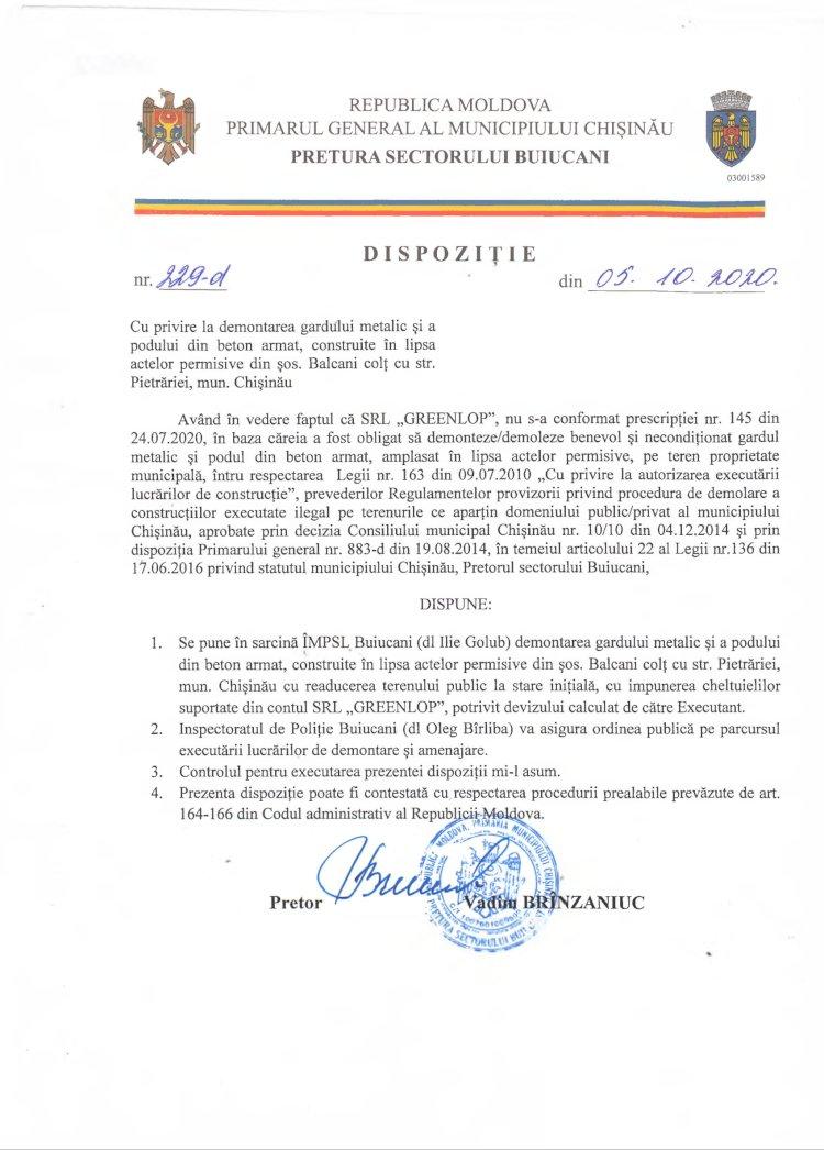 Dispoziție nr 229-d din 05.10.2020 cu privire la demontarea gardului metalic și a podului din beton armat, construite în lipsa actelor permisive din șoș. Balcani colț cu str. Pietrăriei
