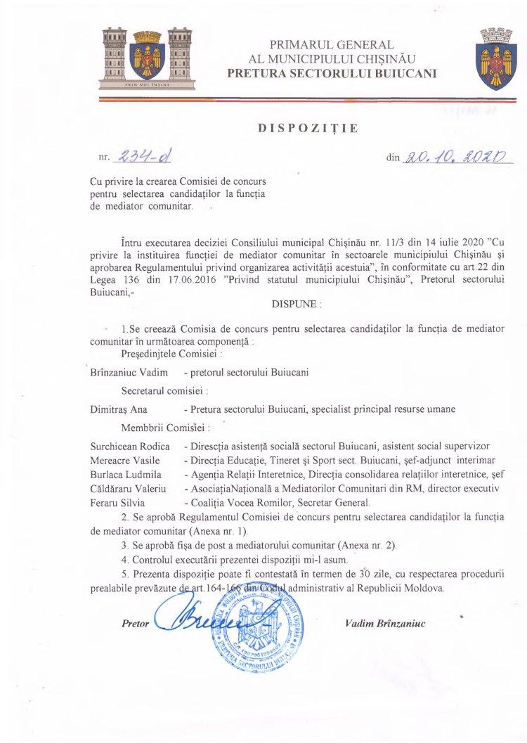 Dispoziție nr 234-d din 20.10.2020 cu privire la crearea Comisiei de concurs pentru selectarea candidaților la funcția de mediator comunitar