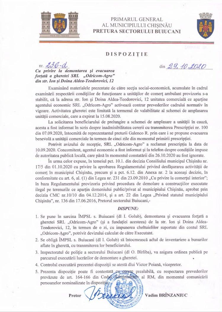 """Dispoziție nr 236-d din 29.10.2020 cu privire la demontarea și evacuarea forțată a gheretei SRL """"Odricom-Agro"""" din str. Teodorovici, 12"""