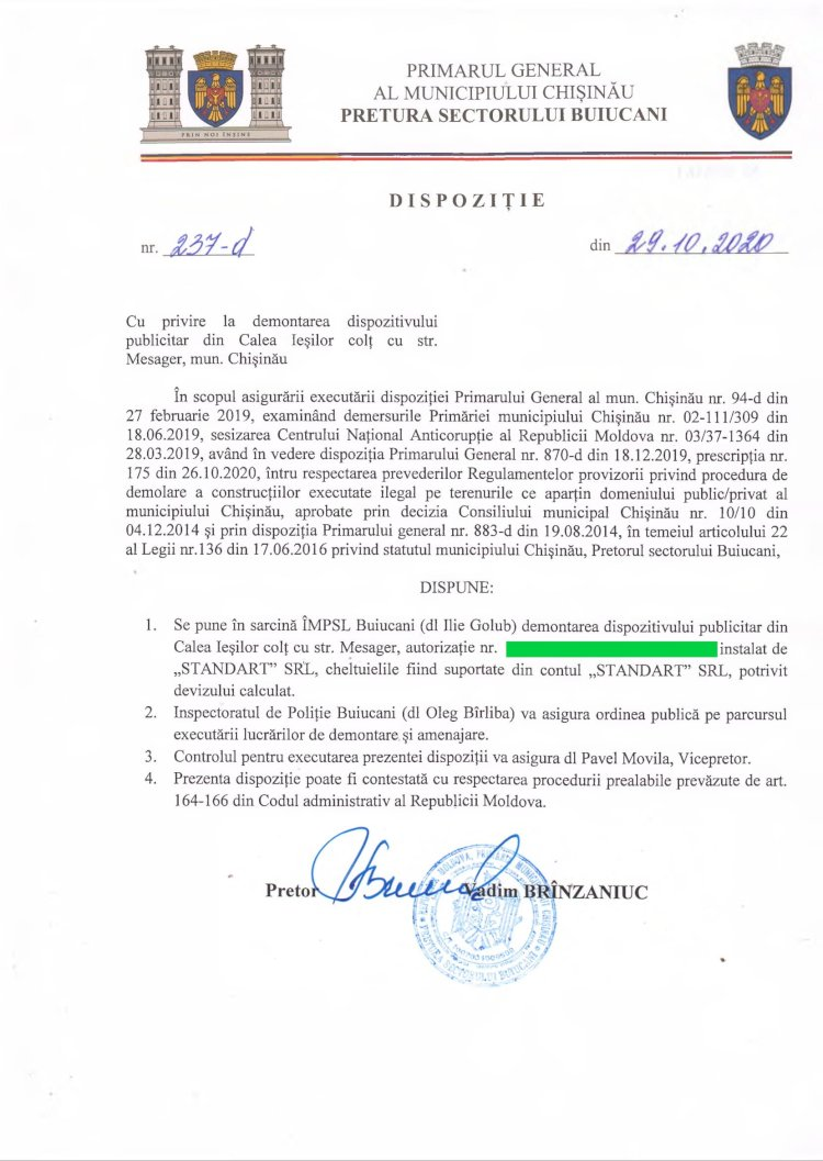 Dispoziție nr 237-d din 29.10.2020 cu privire la demontarea dispozitivului publicitar din Calea Ieșilor colț cu str. Mesager, mun. Chișinău