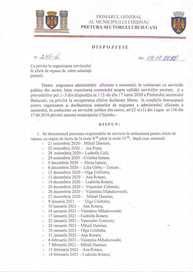 Dispoziție nr 245-d din 19.11.2020 cu privire la organizarea serviciului în zilele de repaus de către salariații preturii