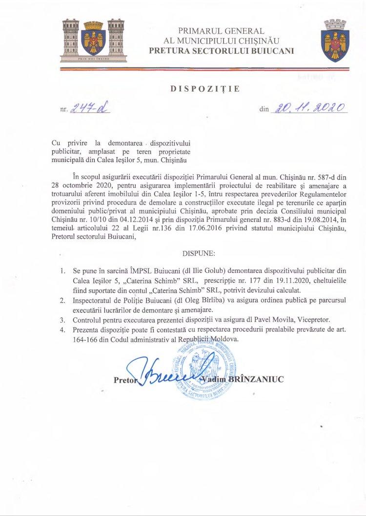 Dispoziție nr 247-d din 20.11.2020 cu privire la demontarea dispozitivului publicitar, amplasat pe teren proprietate municipală din str. Calea Ieșilor 5, mun. Chișinău