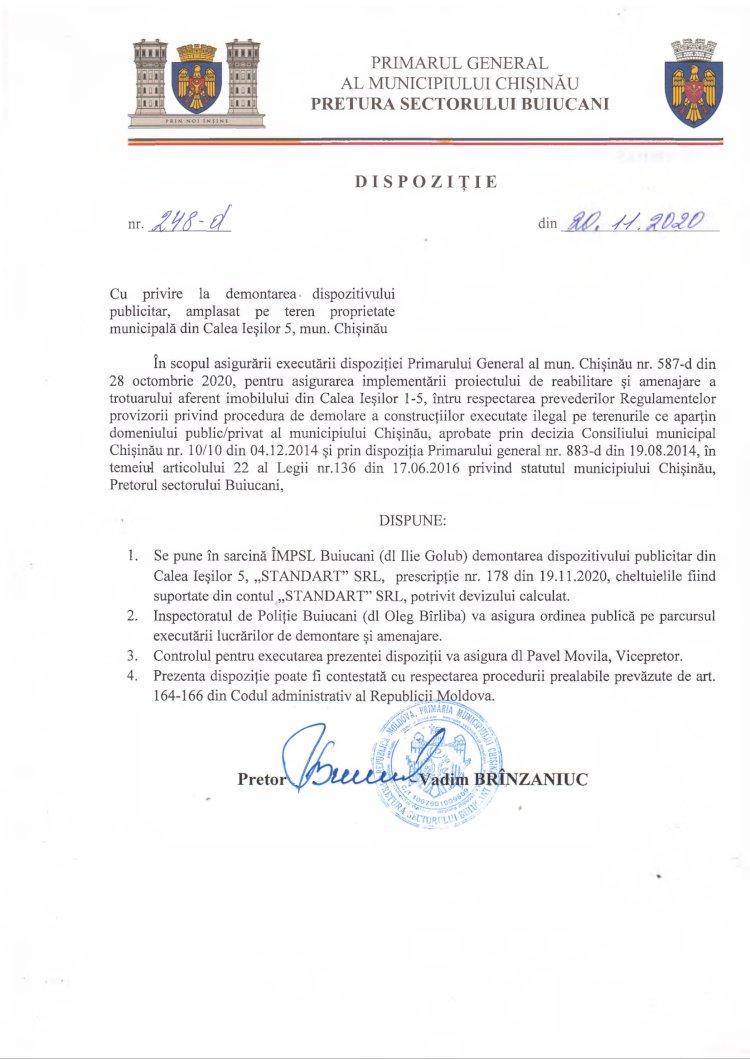 Dispoziție nr 248-d din 20.11.2020 cu privire la demontarea dispozitivului publicitar, amplasat pe teren proprietate municipală din str. Calea Ieșilor 5, mun. Chișinău
