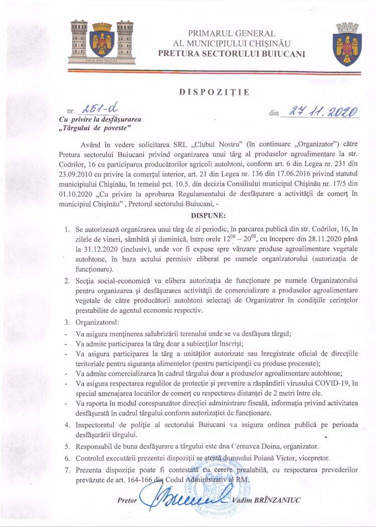 """Dispoziție nr 251-d din 27.11.2020 cu privire la desfășurarea """"Târgului de poveste"""""""