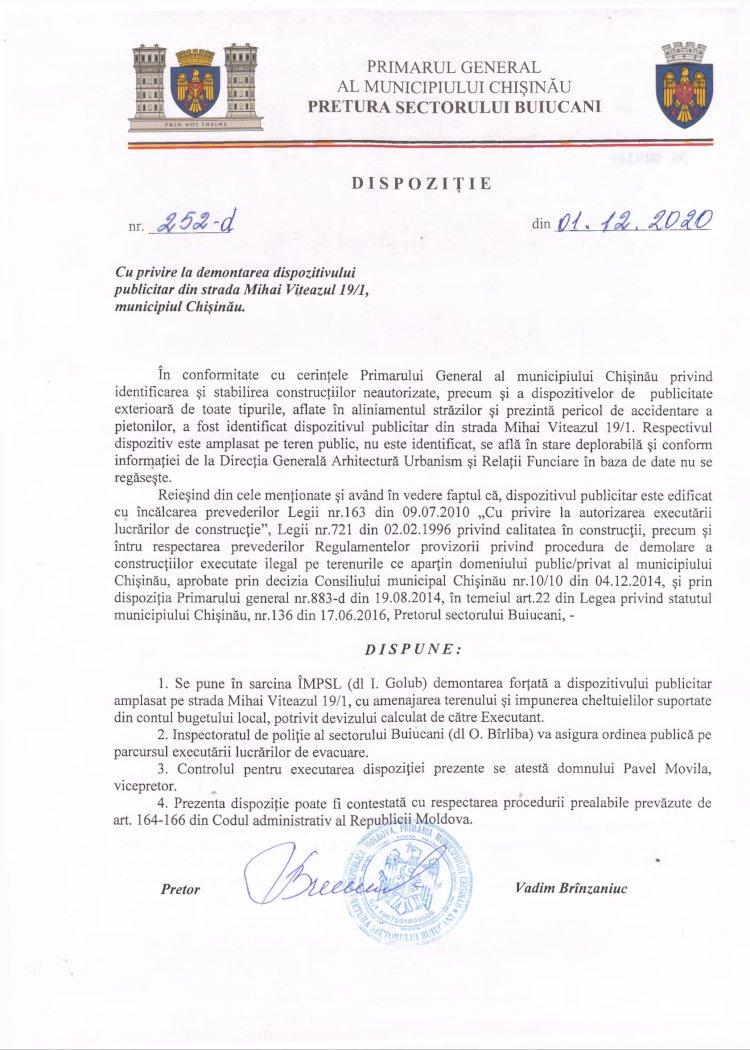 Dispoziție nr 252 din 01.12.2020 cu privire la demontarea dispozitivului publicitar din str. M. Viteazul 19/1, mun. Chișinău
