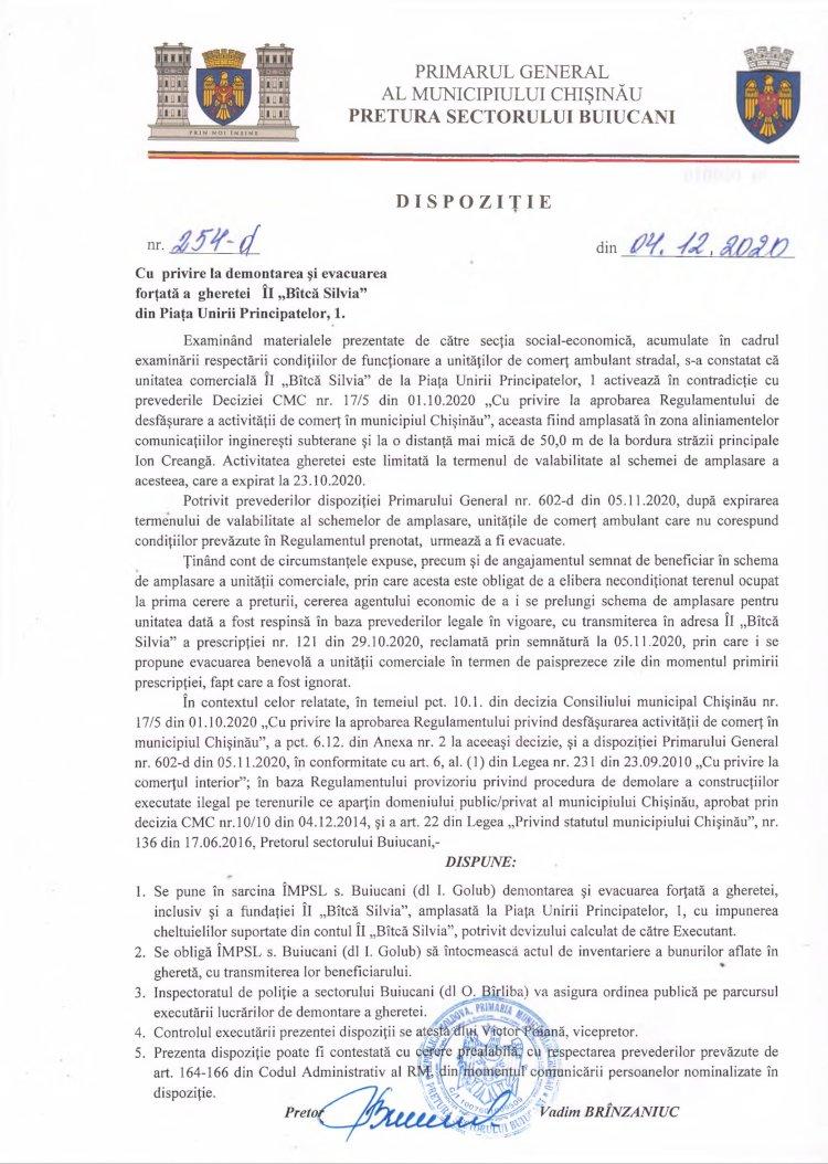 """Dispoziție nr 254-d din 04.12.2020 cu privire la demontarea și evacuarea forțată a gheretei ÎI """"Bîtca Silvia"""" din Piața Unirii Principatelor, 1"""