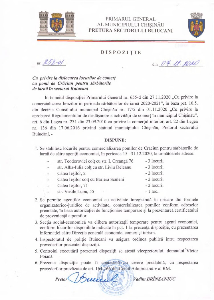 Dispoziție nr 258-d din 07.12.2020 cu privire la dislocarea locurilor de comerț cu pomi de Crăciun pentru sărbătorile de iarnă în sectorul Buiucani