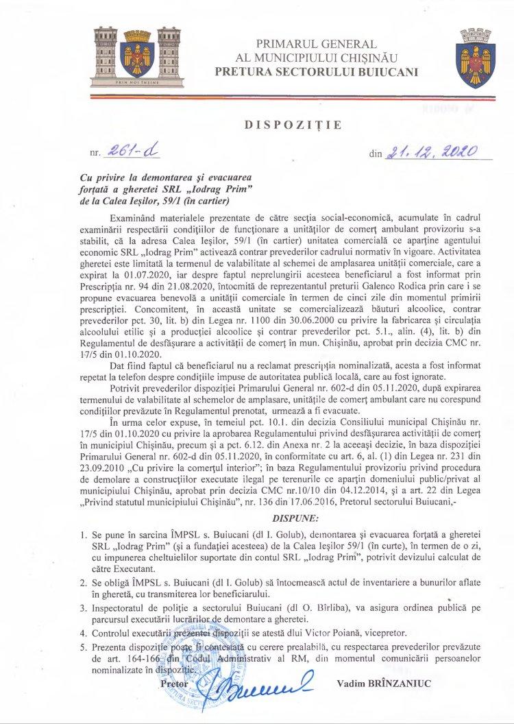 """Dispoziție nr 261-d din 21.12.2020 cu privire la demontarea și evacuarea forțată a gheretei SRL """"Iodrag Prim"""" de la str. Calea Ieșilor, 59/1 (în cartier)"""