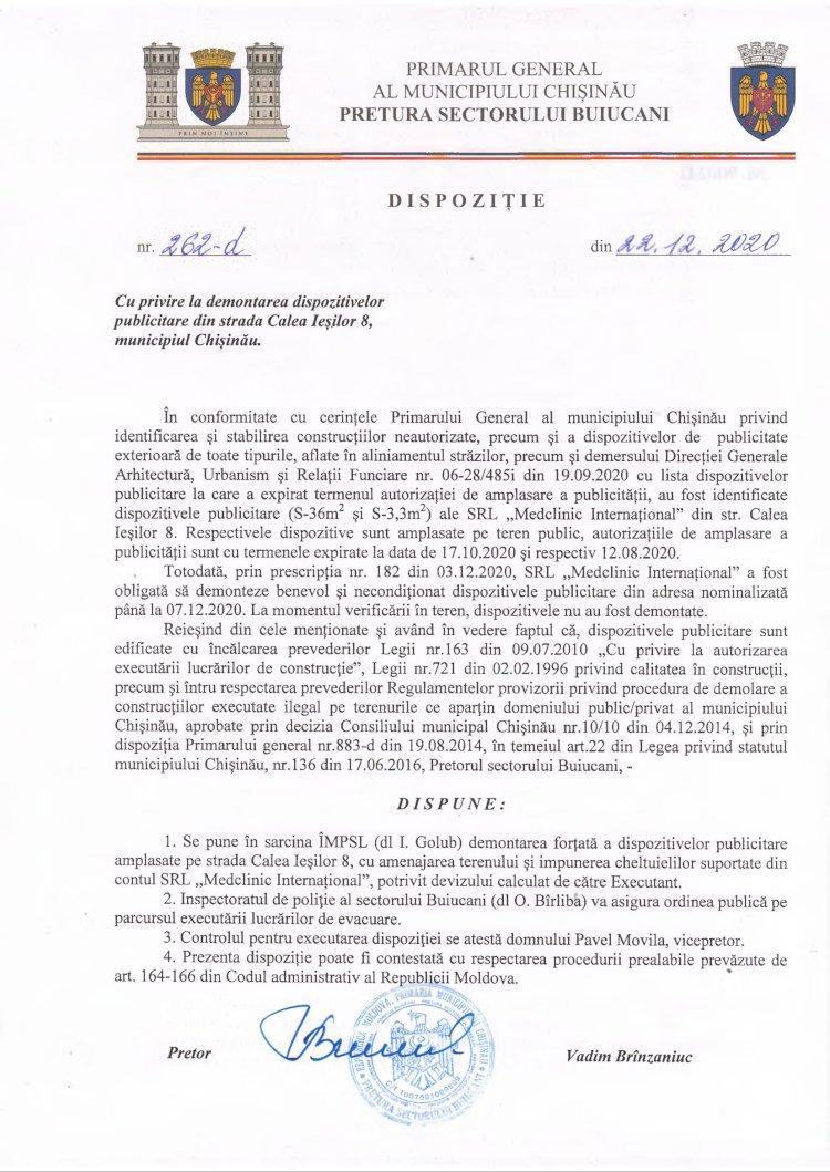 Dispoziție nr 262-d din 22.12.2020 cu privire la demontarea dispozitivelor publicitare din str. Calea Ieșilor, 8, mun. Chișinău