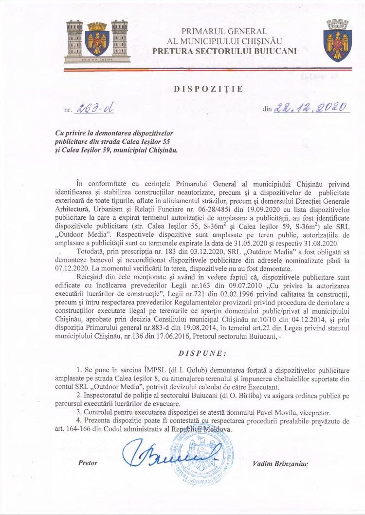 Dispoziție nr 263-d din 22.12.2020 cu privire la demontarea dispozitivelor publicitare din str. Calea Ieșilor, 55 și str. Calea Ieșilor, 59, mun. Chișinău