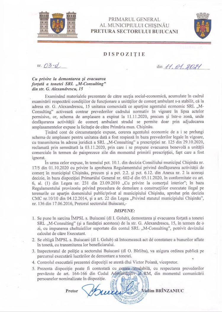 """Dispoziție nr 03-d din 11.01.2021 cu privire la demontarea și evacuarea forțată a tonetei SRL """"M-Consulting"""" din str. G. Alexandrescu, 15"""