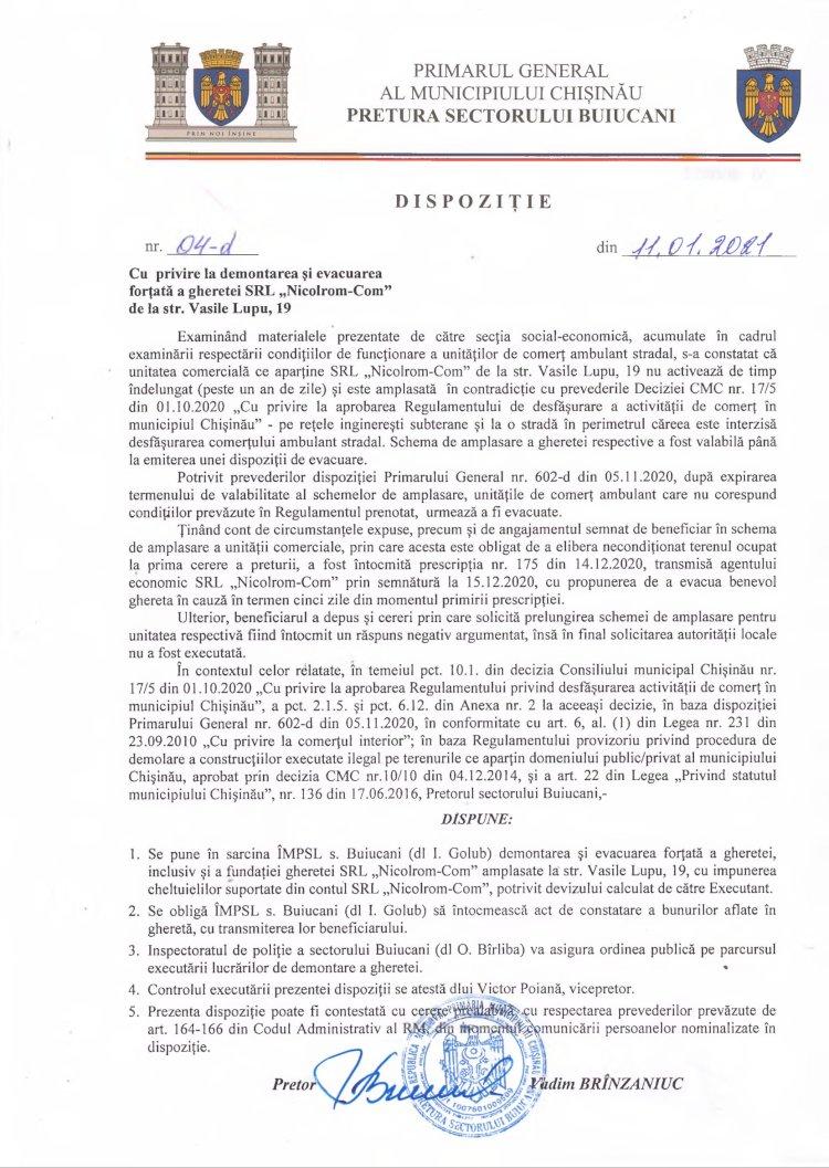 """Dispoziție nr 04-d din 11.01.2021 cu privire la demontarea și evacuarea forțată a gheretei SRL """"Nicolrom-Com"""" de la str. V. Lupu, 19"""