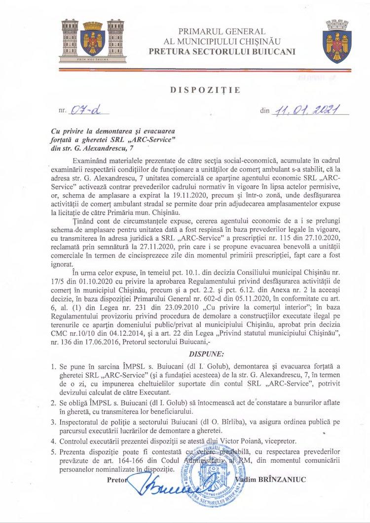 """Dispoziție nr 07-d din 11.01.2021 cu privire la demontarea și evacuarea forțată a gheretei SRL """"ARC-Service"""" din str. G. Alexandrescu, 7"""