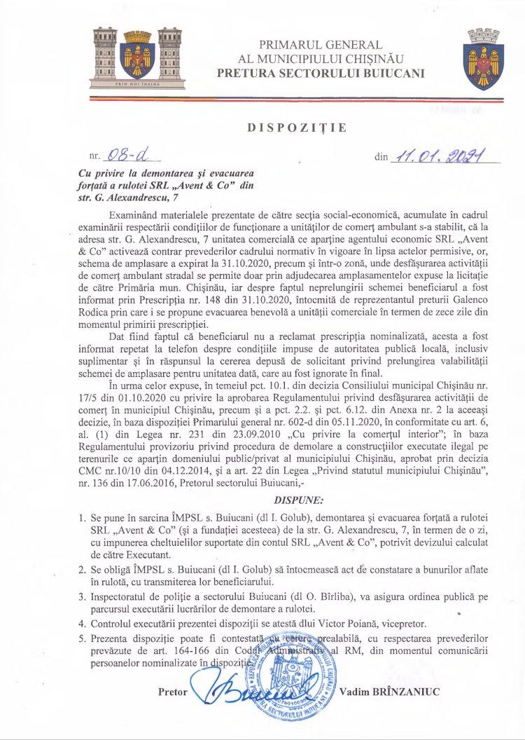 """Dispoziție nr 08-d din 11.01.2021 cu privire la demontarea și evacuarea forțată a rulotei SRL """"Avent & Co"""" din str. G. Alexandrescu, 7"""