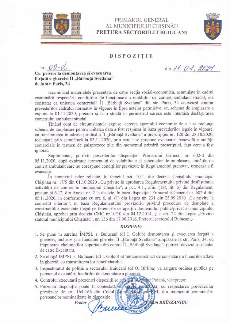 """Dispoziție nr 09-d din 11.01.2021 cu privire la demontarea și evacuarea forțată a gheretei ÎI """"Bărbuța Svetlana"""" din str. Paris, 34"""