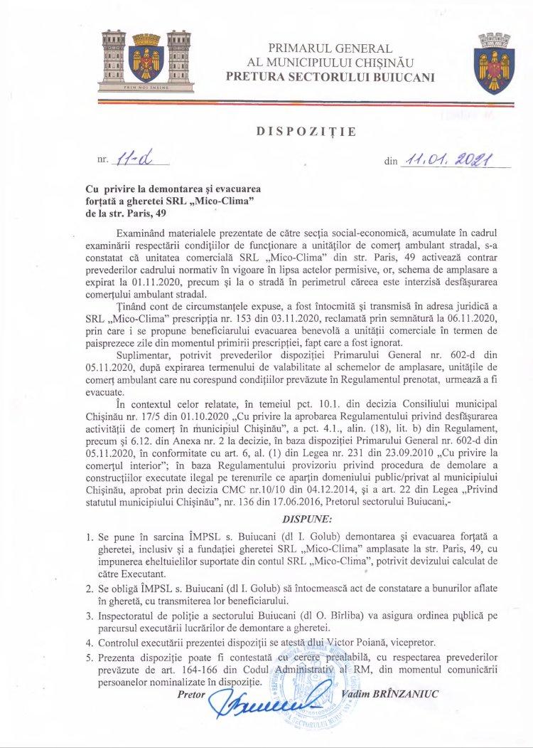 """Dispoziție nr 11-d din 11.01.2021 cu privire la demontarea și evacuarea forțată a gheretei SRL """"Mico-Clima"""" din str. Paris, 49"""
