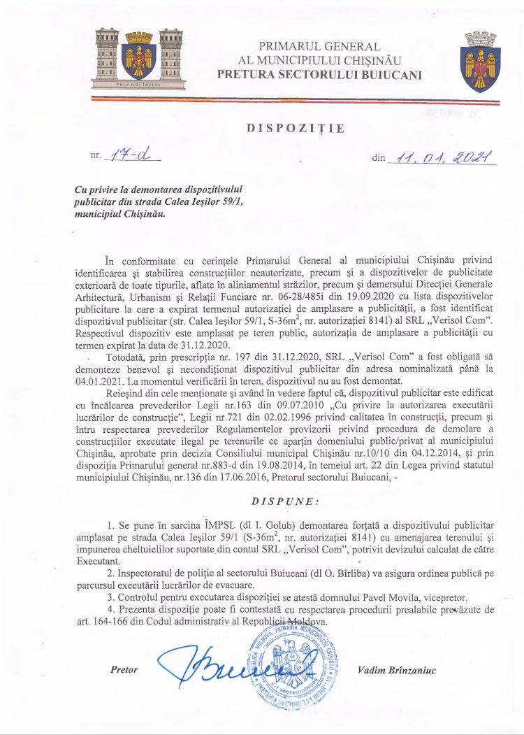 Dispoziție nr 17-d din 11.01.2021 cu privire la demontarea dispozitivului publicitar din str. Calea Ieșilor, 59/1, mun. Chișinău