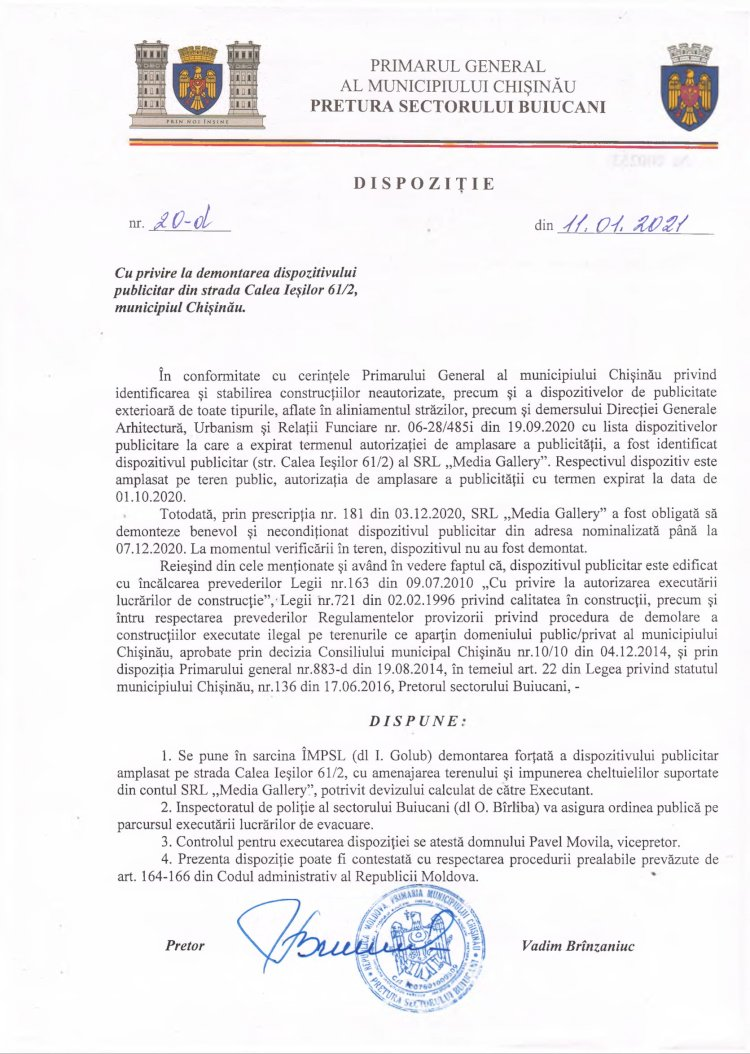 Dispoziție nr 20-d din 11.01.2021 cu privire la demontarea dispozitivului publicitar din str. Calea Ieșilor 61/2, mun. Chișinău