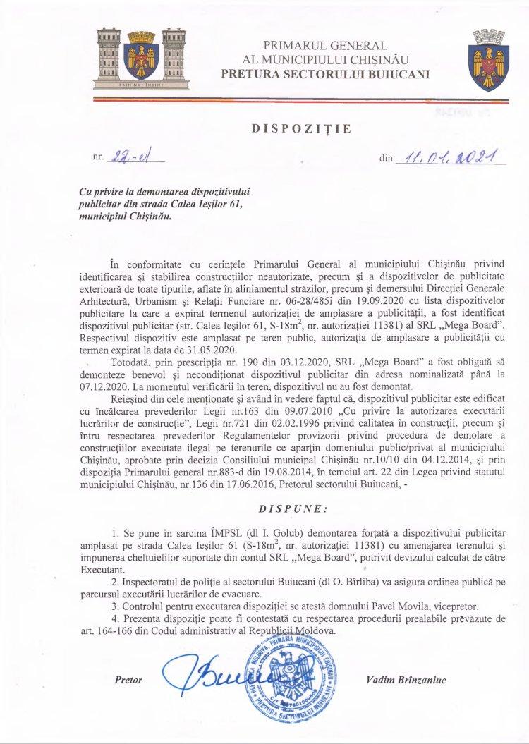 Dispoziție nr 22-d din 11.01.2021 cu privire la demontarea dispozitivului publicitar din str. Calea Ieșilor, 61, mun. Chișinău
