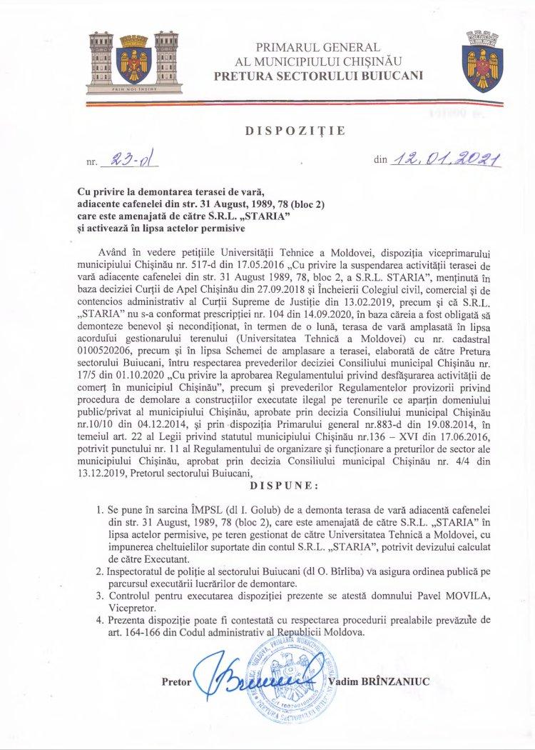 """Dispoziție nr 23-d din 12.01.2021 cu privire la demontarea terasei de vară, adiacente cafenelei din str. 31 August, 1989, 78 (bloc 2) care este amenajată de către SRL """"STARIA"""" și activează în lipsa actelor permisive"""