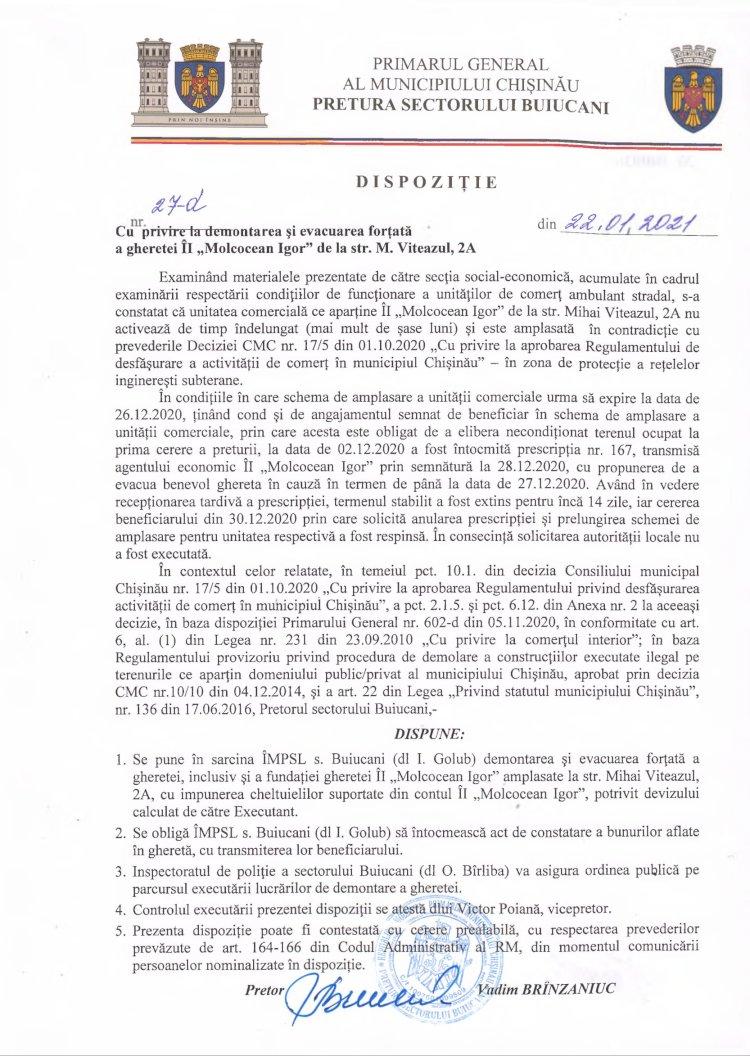 """Dispoziție nr 27-d din 22.01.2021 cu privire la demontarea și evacuarea forțată a gheretei ÎI """"Molcocean Igor"""" de la str. M. Viteazul, 2A"""