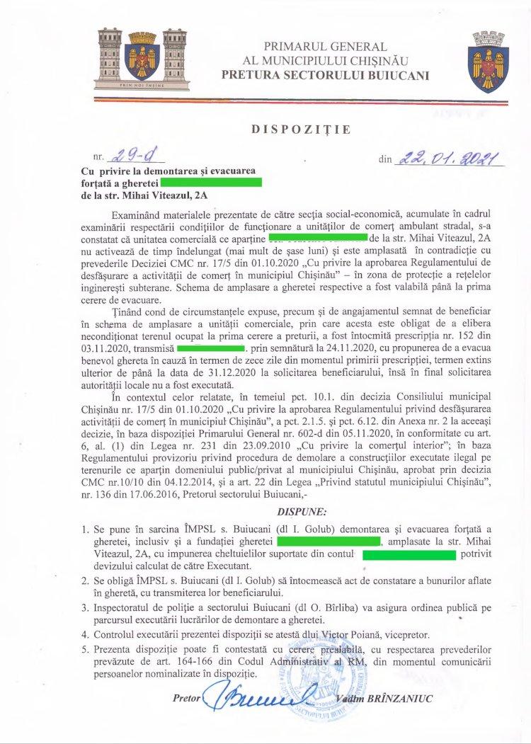 Dispoziție nr 29-d din 22.01.2021 cu privire la demontarea gheretei din str. M. Viteazul, 2A