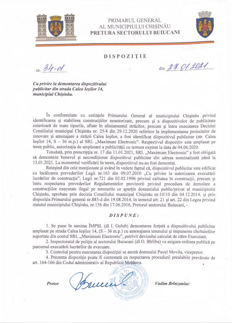 Dispoziție nr 34-d din 27.01.2021 cu privire la demontarea dispozitivului publicitar din str. Calea Ieșilor 14, mun. Chișinău