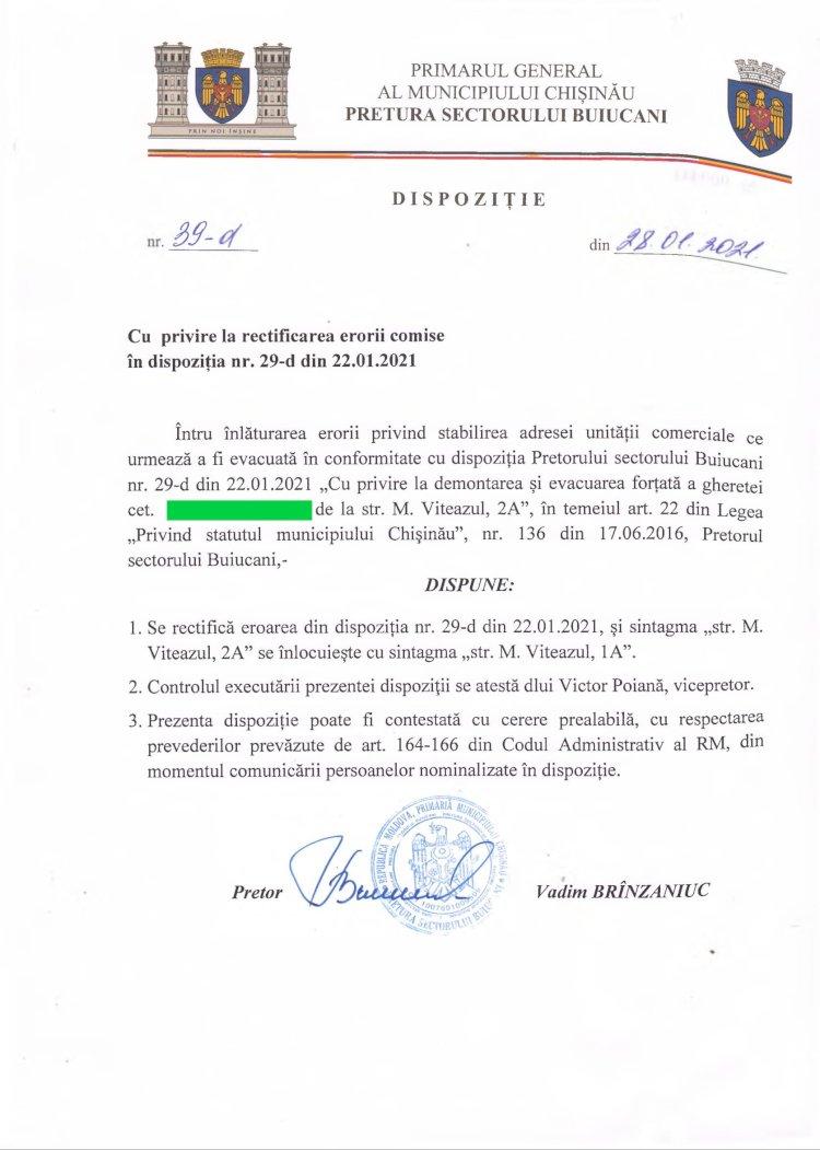 Dispoziție nr 39-d din 28.01.2021 cu privire la rectificarea erorii comise în dispoziția nr. 29-d din 22.01.2021